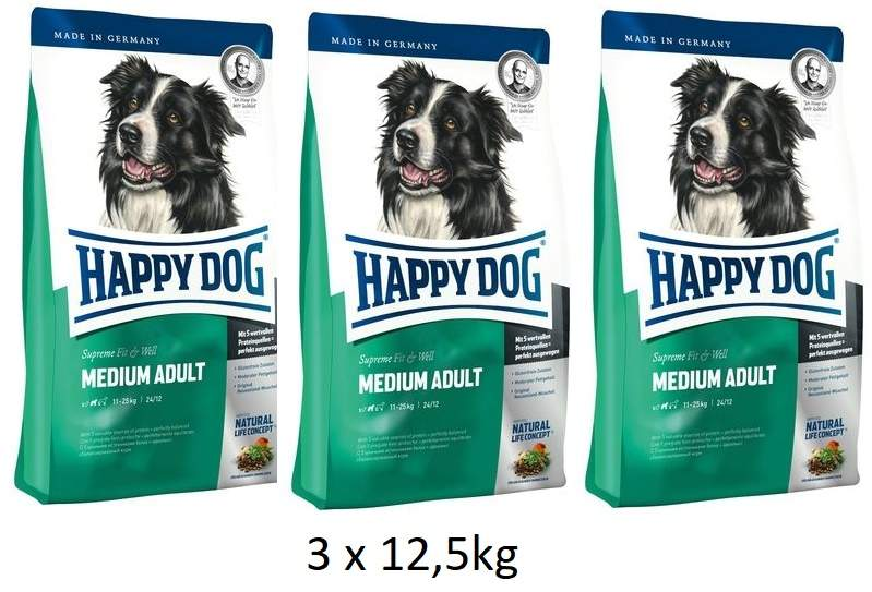 Happy Dog Supreme Adult Fit & Well Medium 3 x 12,5 kg