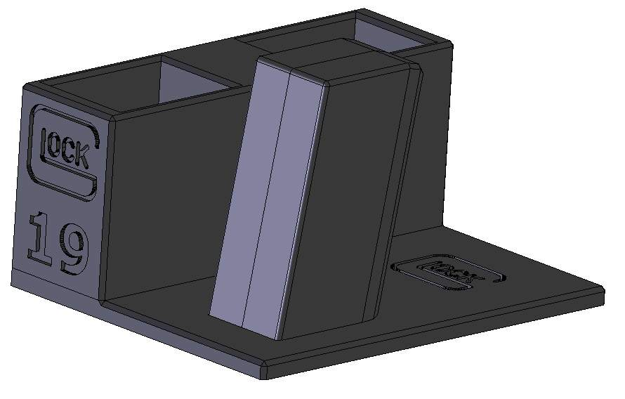 Zobrazit detail výrobku Stojánek do trezoru na Glock 19 a 2 zásobníky